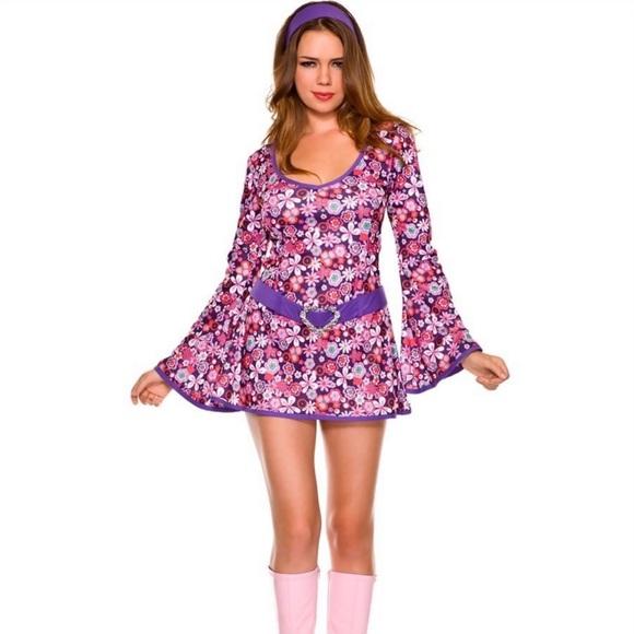 Music Legs Other - Disco Flower Power Go Go Dancer Costume S/M✌️ 🎸